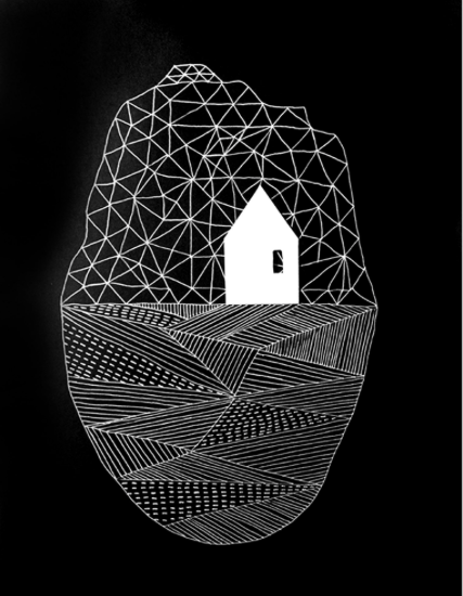 Home – illustrated artwork of Strandhill and Knocknarea, Co Sligo