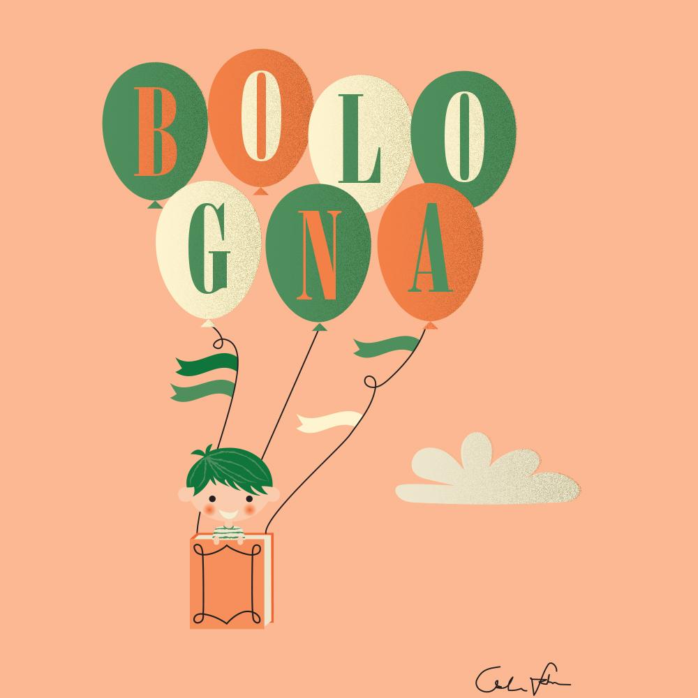 Bologna Children's Book Fair, Bookmark illustration by Linda Fahrlin