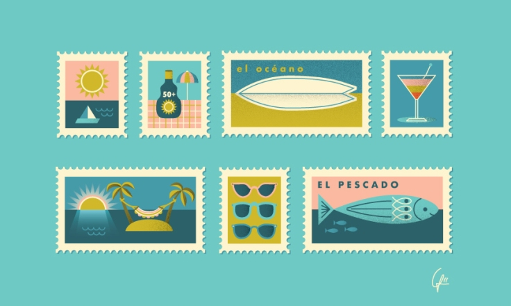 Illustration of beach holiday travel stamps