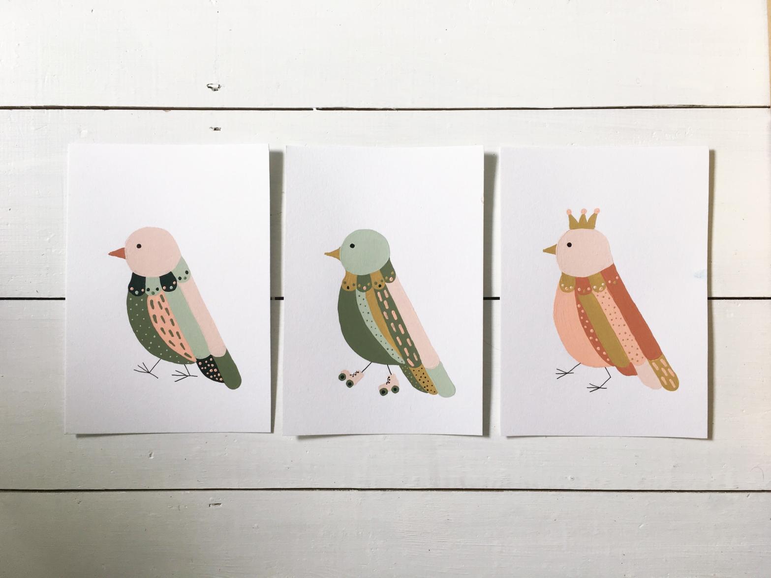 Linda Fahrlin illustration kids interior bird parade